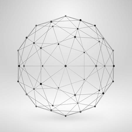 Wireframe Polygonal Element. 3D Sphere with Lines and Dots Ilustração