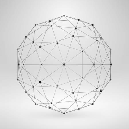 struktur: Wireframe Polygonal Element. 3D Sphere med linjer och punkter