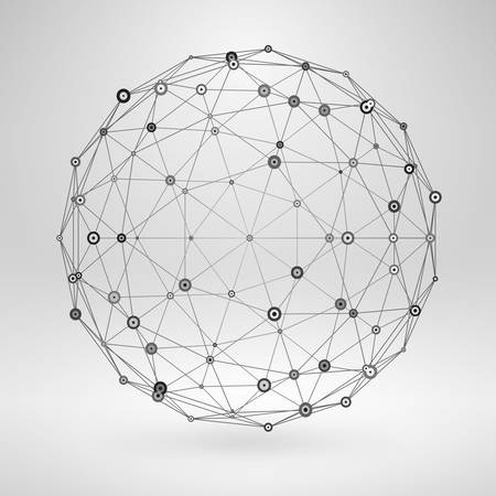 Wireframe Polygonal Element. 3D Sphere with Lines and Dots 矢量图像