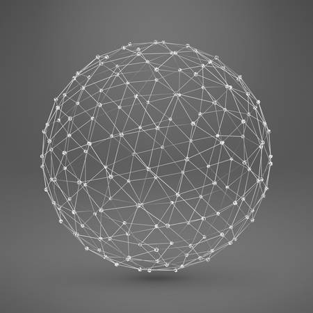 Wireframe Polygonal Element. 3D Sphere with Lines and Dots Illustration