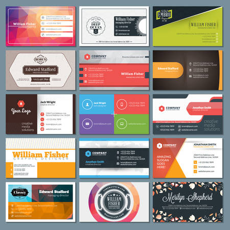id card: Set of Modern Creative Business Card Templates Illustration