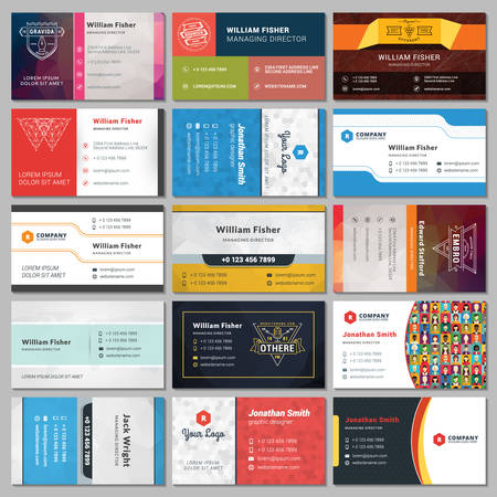 Set of Modern Creative Business Card Templates  イラスト・ベクター素材