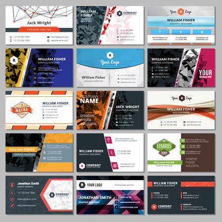 business card: Set of Modern Creative Business Card Templates Illustration