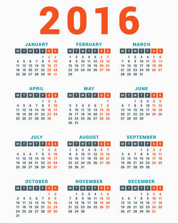 calendar: Calendar for 2016 on White Background. Week Starts Monday. Simple Vector Template