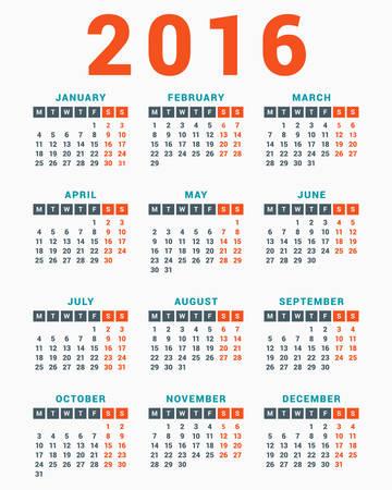 kalendarz: Kalendarz na rok 2016 na białym tle. Tydzień zaczyna się w poniedziałek. Prosty Szablon Vector Ilustracja