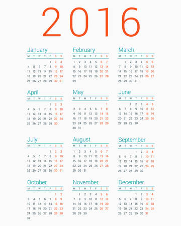 thursday: Calendar for 2016 on White Background. Week Starts Monday. Simple Vector Template