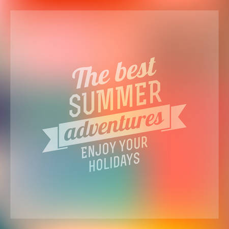 Retro summer vintage label on colorful background. Tropical paradise, beach vacation, adventure and travel Illustration