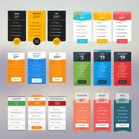 table set: Set of Vector Pricing Table in Flat Design Style for Websites and Applications