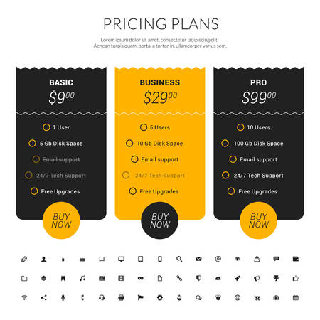 Vector Pricing Table in Flat Design Style for Websites and Applications 版權商用圖片 - 40443264