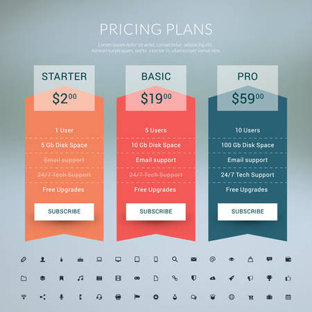 Vector Pricing Table in Flat Design Style for Websites and Applications Illustration