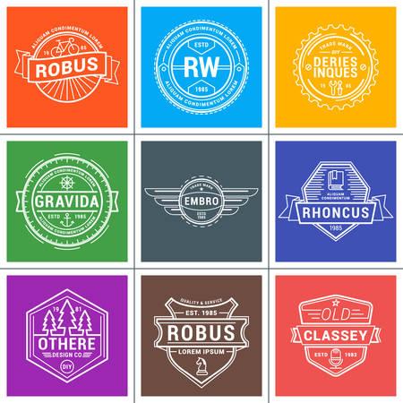 logotypes: Set of Hipster Vintage Labels, Logotypes, Badges. Thin Line Design Template Illustration