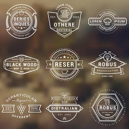 あなたのビジネスの流行に敏感なビンテージ ラベル、ロゴ、バッジのセットです。細い線のデザイン テンプレート