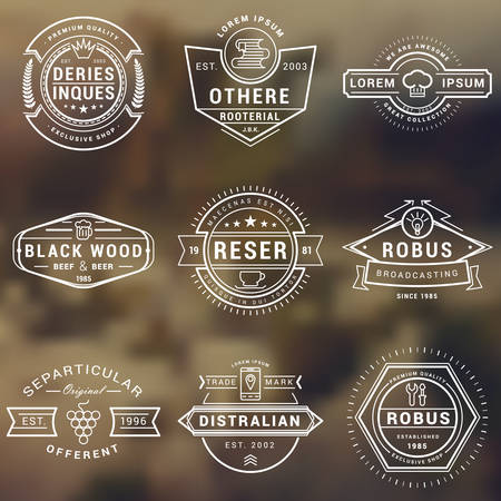 brand: Set of Hipster Vintage Labels, Logotypes, Badges for Your Business. Thin Line Design Template Illustration