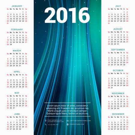 january calendar: Calendar 2016 Vector Design Template. Week Starts Sunday