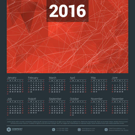 calendario julio: Calendario 2016 del vector plantilla de dise�o. Semana comienza el domingo Vectores