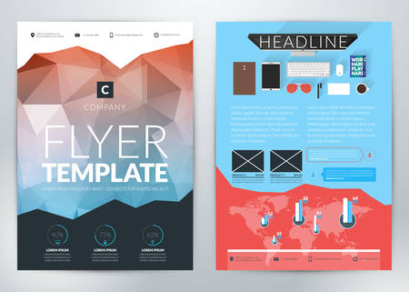 pages template: Vector abstract business flyer or poster template with infographics