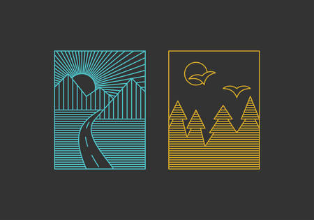 Set of Line Art Illustrations for Travel or Tourism. Thin Line Graphic Design Vector