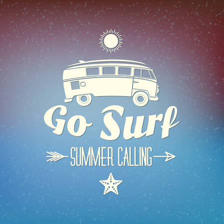 summer season: Retro Summer Holidays Hipster Label. Vector Design Elements on Coloful Summer Background