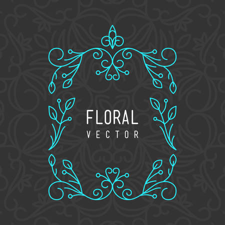 Abstract Vector Line Art Floral Decoration Frame. Design Template Vector