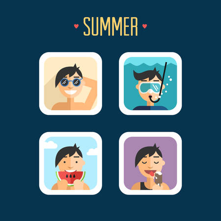 sunbathe: Set of Summer Holidays Vector Illustrations. Flat Design. Sunbathe, Diving, Eat Watermelon, Ice Cream Illustration