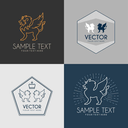 Set of Line Art Badge or Logo Template. Winged Lion. Thin Line Graphic Design Illustration