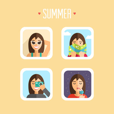 sunbathe: Set of Summer Holidays Vector Illustrations. Flat Design. Sunbathe, Map, Photoshoot, Ice Cream Illustration