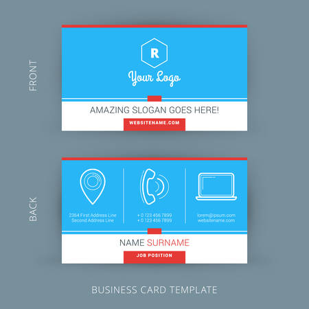business card: Vector Modern Creative and Clean Business Card Template. Flat Design