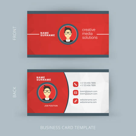 business card template: Vector Modern Creative and Clean Business Card Template. Flat Design