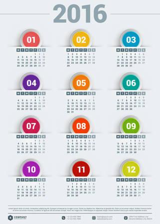 calendario julio: Vector plantilla de dise�o. Calendario 2016. La semana comienza Lunes Vectores