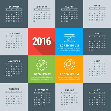 kalendarz: Wektor szablonu projektu. Kalendarz 2016. Tydzień zaczyna się w poniedziałek