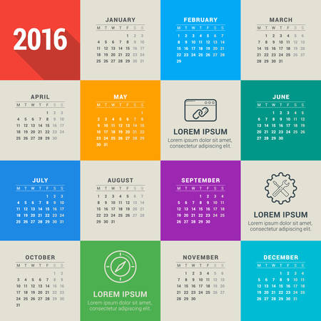 Vector Design Template. Calendar 2016. Week Starts Monday Illustration