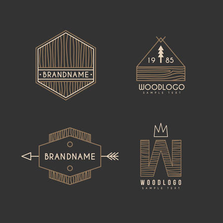 logotypes: Set of Hipster Vintage Labels or Logotypes with Wooden Texture