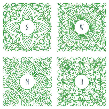 mono: Vector Floral Frame. Mono Line Style Design Template