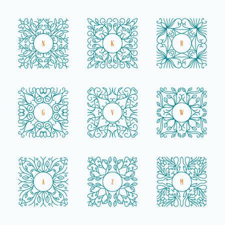 label frame: Vector Floral Frame. Mono Line Style Design Template