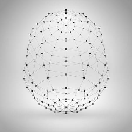 3d object: Wireframe Polygonal Element. Abstract Geometric 3D Object with Thin Lines Illustration