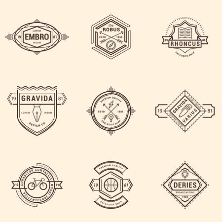 education book: Set of Hipster Vintage Labels, Badges. Thin Line Design Template