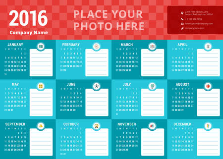 january calendar: Design Template. Calendar 2016