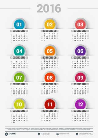 calendari: Modello di progettazione. Calendario 2016 Vettoriali