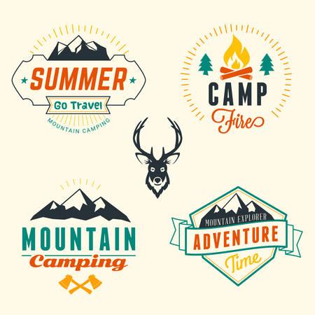 campfire: Set of Retro Vintage Summer Camping Badges Illustration