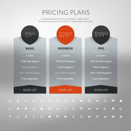 Tableau des prix à Flat Style Design pour les sites Web et applications Banque d'images - 41523872
