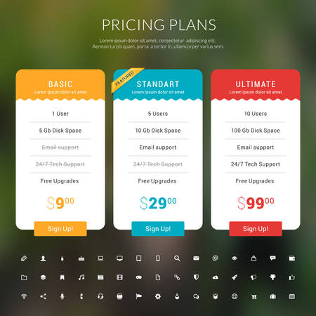 Pricing Table in Flat Design Style for Websites and Applications