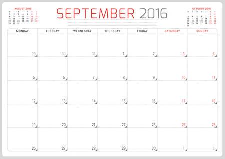 planner: Calendar Planner 2016. Vector Design Template. September. Week Starts Monday