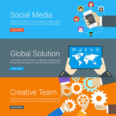web solution: Flat Design Concept. Set of Vector Illustrations for Web Banners. Social Media, Global Solution, Creative Team
