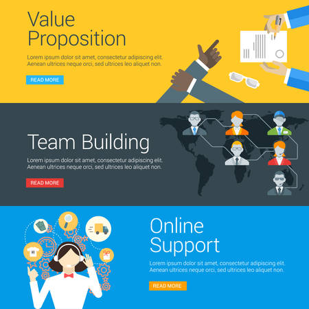 marketing team: Flat Design Concept. Set of Vector Illustrations for Web Banners. Value Proposition, Team Building, Online Support