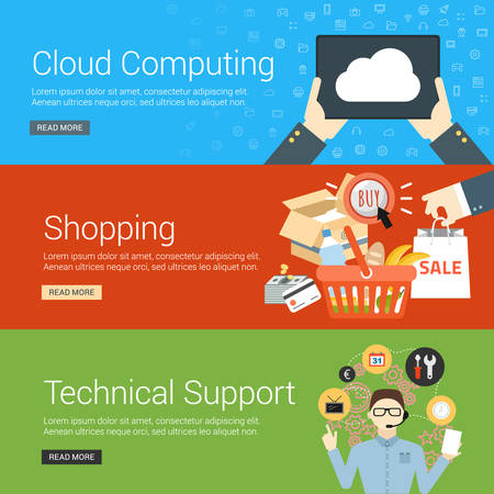 support services: Flat Design Concept. Set of Vector Illustrations for Web Banners. Cloud Computing, Shopping, Technical Support