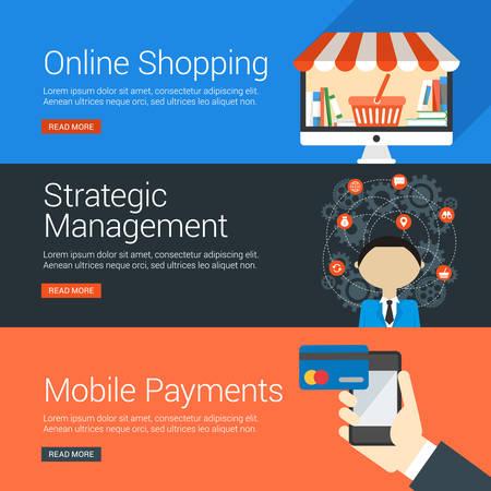 strategic management: Flat Design Concept. Set of Vector Illustrations for Web Banners. Online Shopping, Strategic Management, Mobile Payments