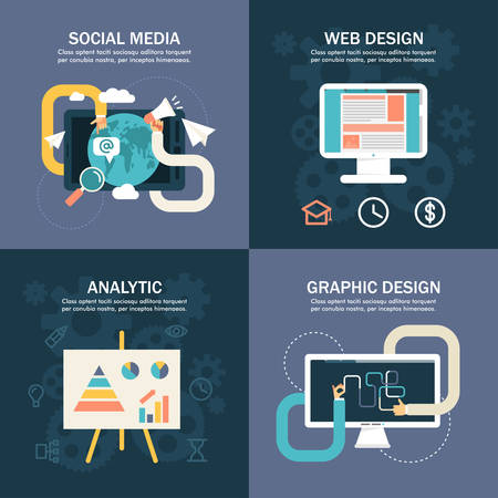 analytic: Set of Flat Vector Business Illustrations. Social Media, Web Design, Analytic, Graphic Design