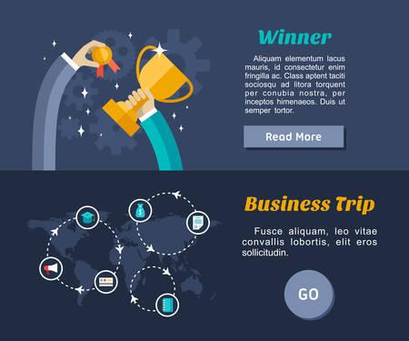 viaje de negocios: Flat Design Concept para la web banners y materiales promocionales. Ganador, de viaje de negocios