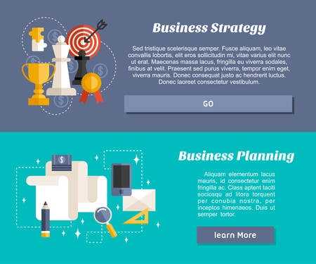 business planning: Flat Design Concept for Web Banners and Promotional Materials. Business Strategy and Business Planning
