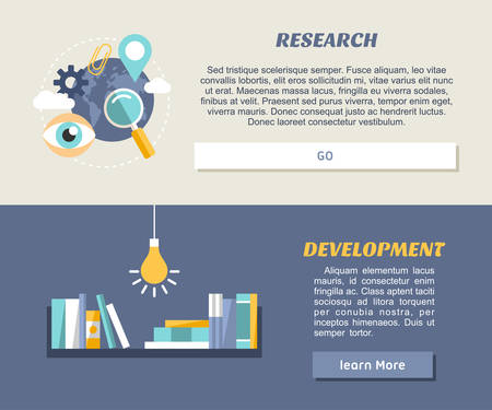 Flat Design Concept for Web Banners and Promotional Materials. Research and Development